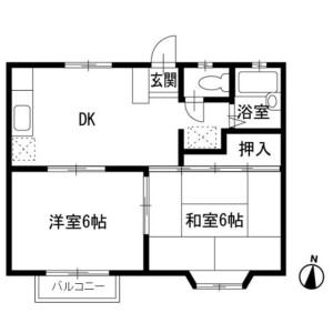 2DK Apartment in Koyawata - Odawara-shi Floorplan