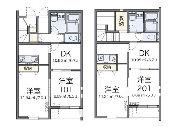 2DK アパート 近江八幡市 間取り