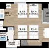在台东区内租赁1R 公寓大厦 的 楼层布局