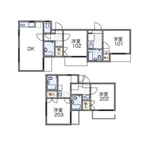 1K Apartment in Chuorinkan - Yamato-shi Floorplan