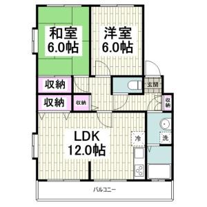 2LDK Apartment in Tsukui - Yokosuka-shi Floorplan