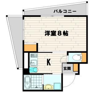 大阪市西区 新町 1K マンション 間取り