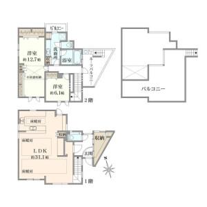 世田谷区中町-2LDK{building type} 楼层布局