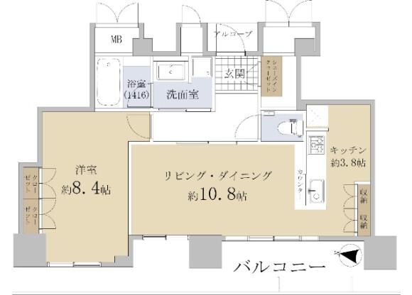 1LDK Apartment to Buy in Osaka-shi Kita-ku Floorplan