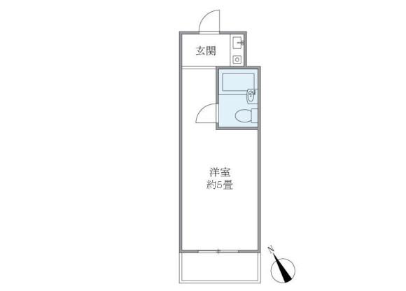 在新宿区内租赁1R 公寓大厦 的 楼层布局