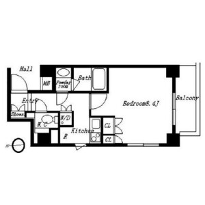 1K Mansion in Takaban - Meguro-ku Floorplan