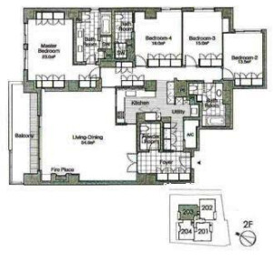 4LDK Apartment in Wakamiyacho - Shinjuku-ku Floorplan