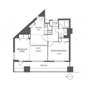 2LDK Apartment in Kitashinjuku - Shinjuku-ku Floorplan