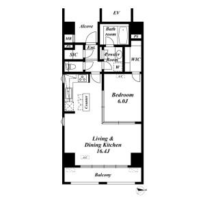 1LDK {building type} in Shibadaimon - Minato-ku Floorplan