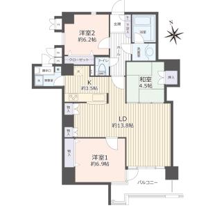 3LDK {building type} in Keyakidai - Tokorozawa-shi Floorplan