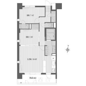 2LDK Apartment in Hongo - Nagoya-shi Meito-ku Floorplan