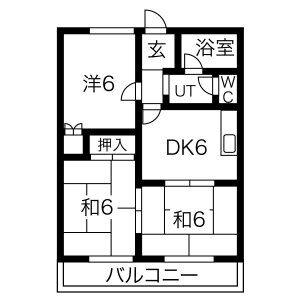 岐阜市西中島-3DK公寓大廈 房間格局