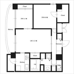 2LDK Mansion in Esakacho - Suita-shi Floorplan