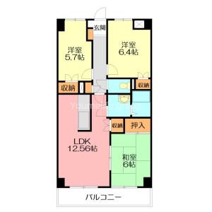 平塚市中原-2SLDK公寓大廈 房間格局