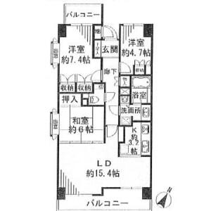 3LDK Mansion in Shimomeguro - Meguro-ku Floorplan