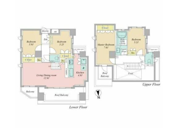 4LDK Apartment to Buy in Nakano-ku Floorplan