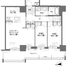 2LDK {building type} in Omoromachi - Naha-shi Floorplan