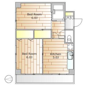 2K Apartment in Tsurumaki - Setagaya-ku Floorplan