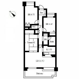 3LDK Mansion in Omoteyama - Nagoya-shi Tempaku-ku Floorplan