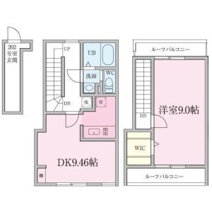 新宿区 戸山(その他) 1LDK アパート 間取り