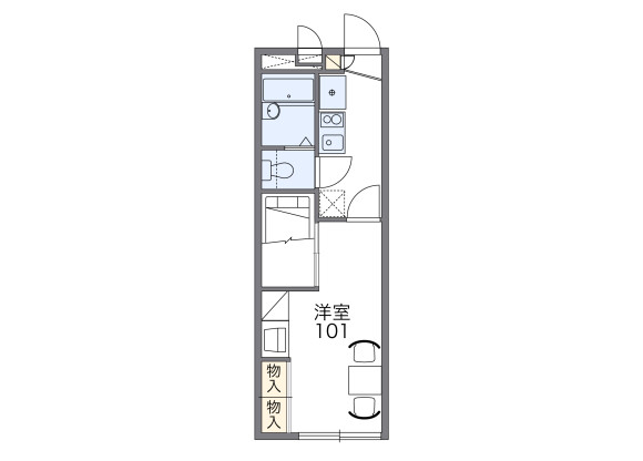 1K Apartment to Rent in Nagoya-shi Tempaku-ku Floorplan