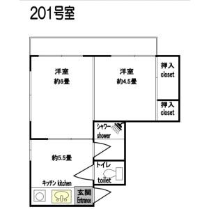 新宿区大久保-2DK公寓 楼层布局
