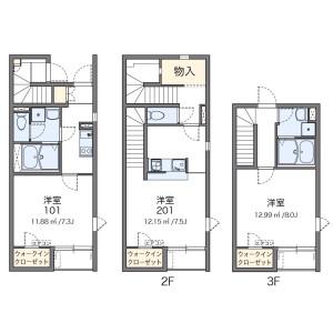 世田谷区代田-1K公寓 楼层布局