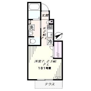 1K Apartment in Hommoku midorigaoka - Yokohama-shi Naka-ku Floorplan