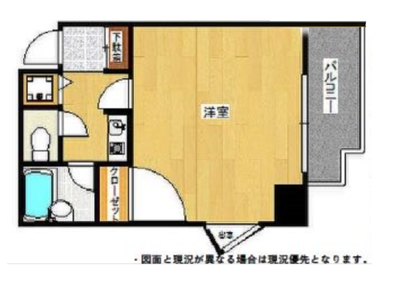 1K Apartment to Buy in Fukuoka-shi Hakata-ku Floorplan