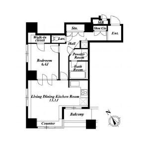 1LDK Apartment in Higashigotanda - Shinagawa-ku Floorplan