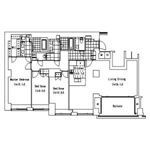 3LDK Apartment in Yoyogikamizonocho - Shibuya-ku Floorplan