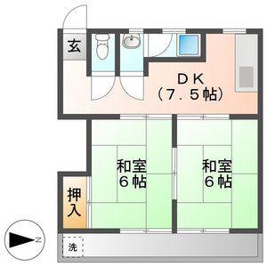 岐阜市八代-2DK公寓 楼层布局
