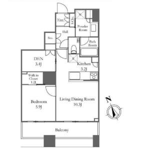 新宿區西新宿-1SLDK公寓大廈 房間格局
