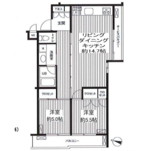 1LDK Mansion in Kitazawa - Setagaya-ku Floorplan