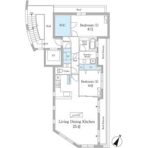 港區元麻布-2LDK公寓大廈 房間格局