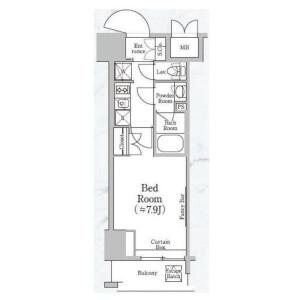 1K Apartment in Shiba(4.5-chome) - Minato-ku Floorplan