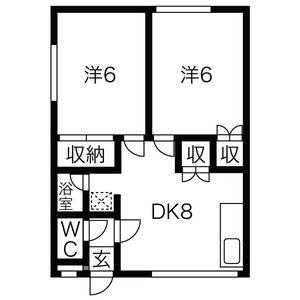 2DK Apartment in Fushiko 4-jo - Sapporo-shi Higashi-ku Floorplan