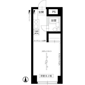 1R Mansion in Nakacho - Musashino-shi Floorplan