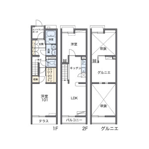 2LDK Apartment in Nishibori - Niiza-shi Floorplan