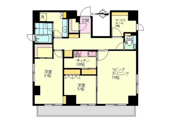 在港区内租赁2SLDK 公寓大厦 的 楼层布局