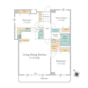 2SLDK Apartment in Meguro - Meguro-ku Floorplan
