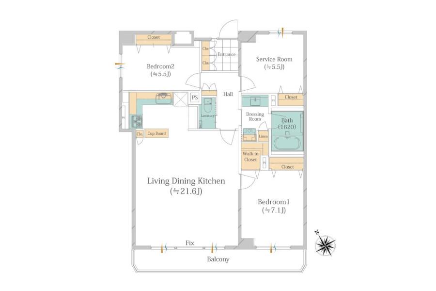 2SLDK Apartment to Buy in Meguro-ku Floorplan