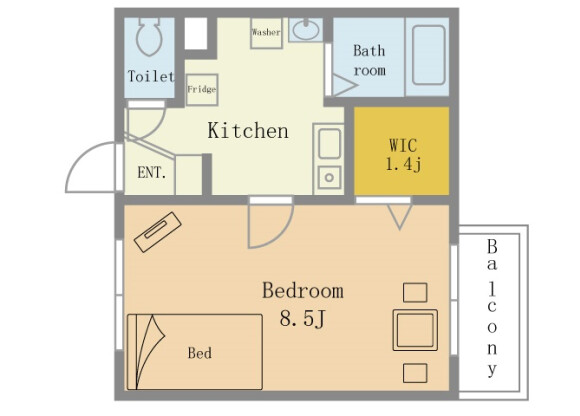 1DK Serviced Apartment to Rent in Yokosuka-shi Floorplan