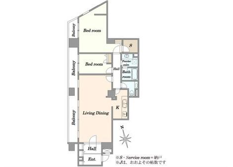 2LDK Apartment to Buy in Chiyoda-ku Floorplan