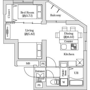 1DK Mansion in Hamamatsucho - Minato-ku Floorplan