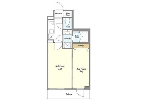 2K Apartment to Rent in Shibuya-ku Floorplan