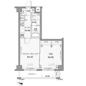 新宿区西新宿-1LDK公寓大厦 楼层布局