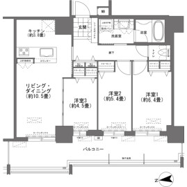 3LDK {building type} in Omoromachi - Naha-shi Floorplan