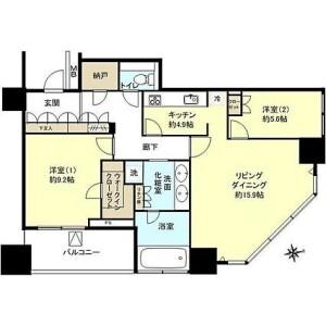 2LDK Apartment in Kinkocho - Yokohama-shi Kanagawa-ku Floorplan
