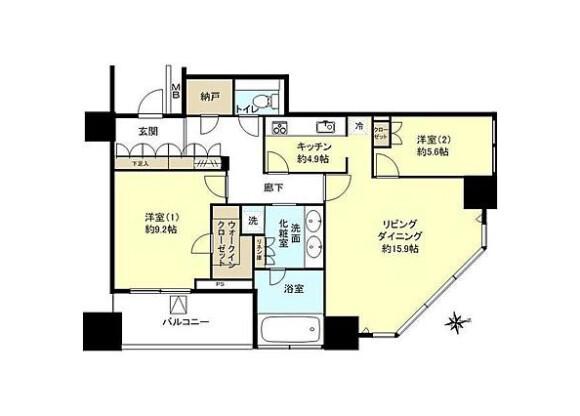 2LDK Apartment to Rent in Yokohama-shi Kanagawa-ku Floorplan